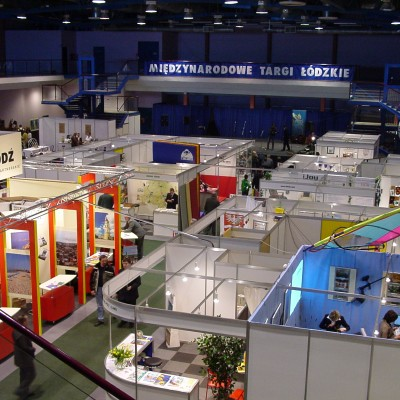 Design of the 'At the Meeting Point of Four Cultures' booth in the EXPO arena in Łódź.